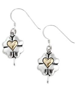 CGC Sterling Silver/ 14k Gold Four-leaf Clover Earrings
