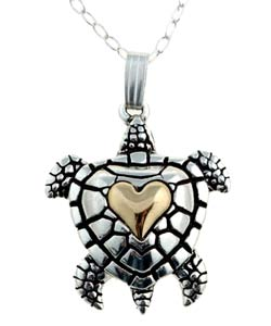 CGC Sterling Silver and 14k Gold Turtle Necklace