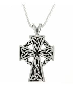 Antique Finish Sterling Silver Celtic Cross Pendant with 18-inch Chain