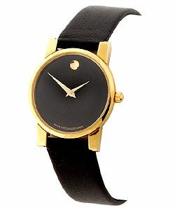Movado Moderna Women's Goldtone Black Strap Watch
