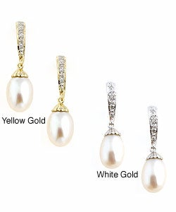 14k Gold Cultured FW Pearl Diamond Earrings