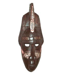 Handmade Sesse-wood Traditional-style Crocodile Mask from Ghana