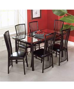 Manhattan Black Lacquer Mirrored Dinette Table Set
