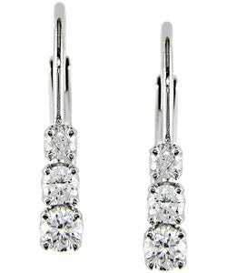 Miadora 14kt White Gold 1/4-ct Diamond Three Stone Earrings