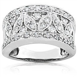 14k Gold 1/2ct TDW Diamond Floral Ring and Gift Box (H-I, I1-I2)