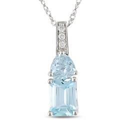 14k White Gold Diamond Blue Topaz Pendant