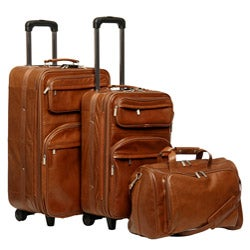 Amerileather Brown Leather 3-piece Traveler Set