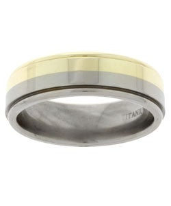 Men's 14k Gold and Titanium Band (7 mm)