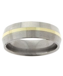 Men's Titanium and 14k Gold Beveled Band (6.8 mm)