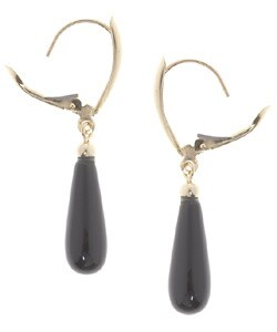 14-kt. Gold Black Onyx Leverback Earrings