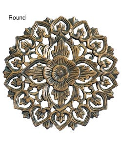 Teak Wood Floral Design Wall Hanging