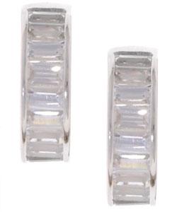 Tressa Sterling Silver CZ Baguette Hoop Earrings
