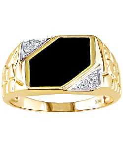 Miadora 14-kt. Yellow Gold Diamond Black Agate Ring
