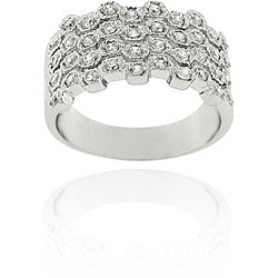 Icz Stonez Sterling Silver CZ Four-row Wave Ring