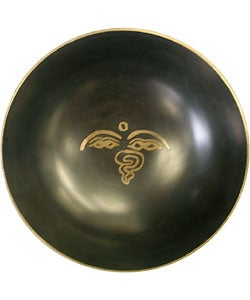 Recycled Hand-polished Brass Red Singing Meditation Bowl (Nepal)