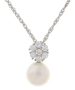 Sterling Silver Cultured FW Pearl and CZ Necklace (8 mm)