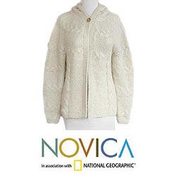 Women's Alpaca Wool Blend 'Snow Fizz' Hooded Cardigan Sweater (Peru)