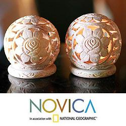 Set of 2 Soapstone 'Sunflowers' Candle Holders (India)