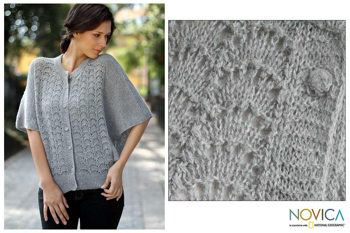 Women's Alpaca Wool 'Shadow Seashells' Sweater (Peru)