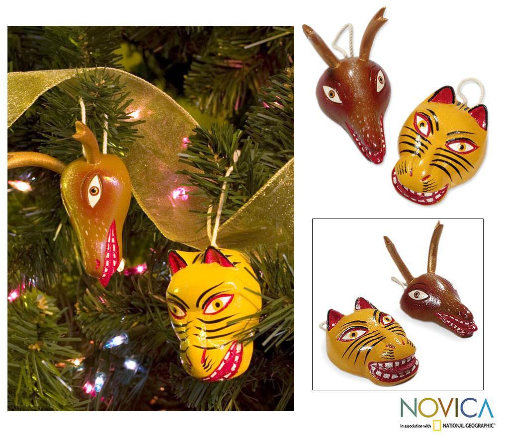 Set of 2 Cedar Wood 'Deer and Tiger Dance Masks' Ornaments (Guatemala)