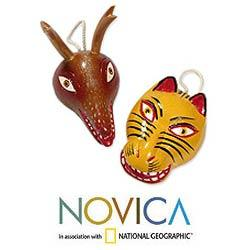 Set of 2 Cedar Wood 'Deer and Tiger Dance Masks' Ornaments (Guatemala)