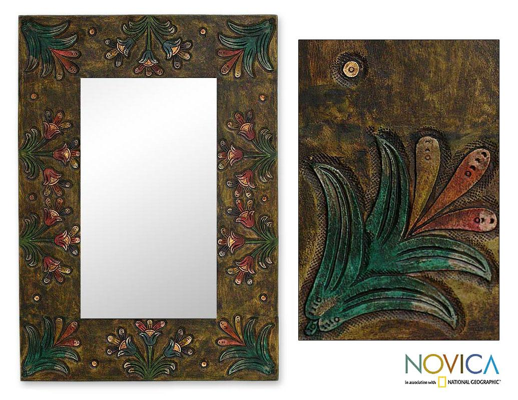 Leather 'Peruvian Autumn' Mirror (Peru)