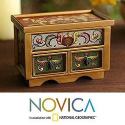 Painted Glass 'Floral Majesty' Chest of Drawers (Peru)