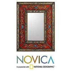 Glass Cedar Wood &#39;Red Cajamarca Warmth&#39; Mirror (Peru)