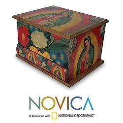 Pinewood &#39;Loving Virgin of Guadalupe&#39; Decoupage Jewelry Box (Mexico)
