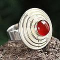 Sterling Silver 'Pyramid of Protection' Agate Ring (Peru)