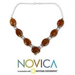 Sterling Silver 'Honey Love' Amber Necklace (India)