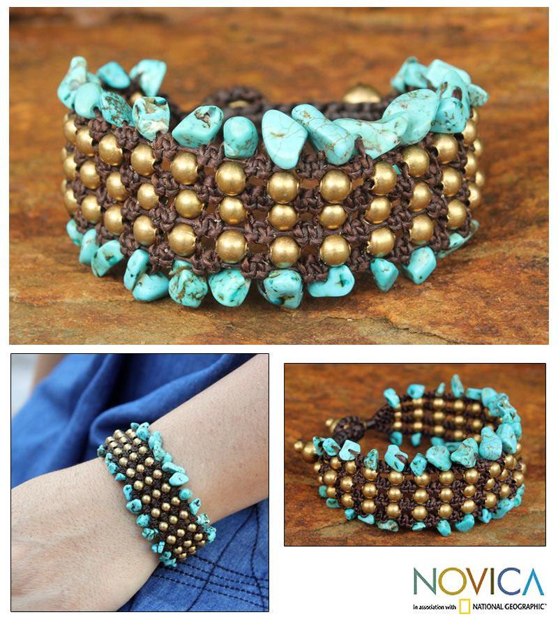 Brass 'Lanna Dazzle' Howlite Beaded Wristband Bracelet (Thailand)