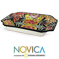 Handcrafted Ceramic 'Mexican Bouquet' Tray (Mexico)