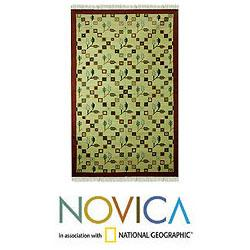 Hand-woven Wool 'Blossoming Mumbai' Brown Green Rug (5x8) (India)