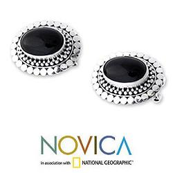 Sterling Silver 'Island Aura' Onyx Button Earrings(Indonesia)