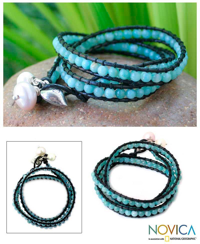 Leather 'Aqua Sea' Amazonite and Pearl Bracelet (7-9 mm) (Thailand)