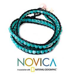 Leather 'Aqua Sea' Amazonite and Pearl Bracelet (7-9 mm) (Thailand)