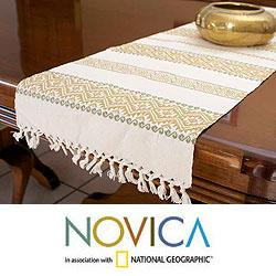 Handcrafted Cotton 'Golden Bouquet' Table Runner (Guatemala)