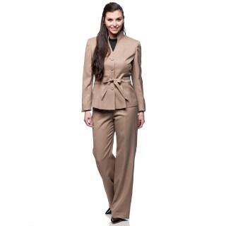 Le Suit 3-button Belted Twill Pant Suit