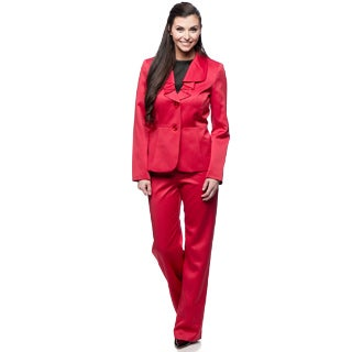 Le Suit Red 2-button Ruffle Collar Pant Suit