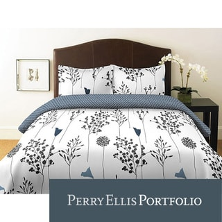 Perry Ellis Asian Lilly White Full/ Queen-size 3-piece Duvet Cover Set