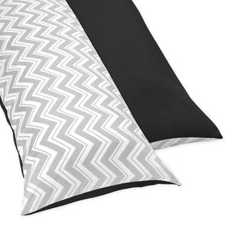 Sweet JoJo Designs Black and Grey Zig Zag Full Length Double Zippered Body Pillow Case Cover