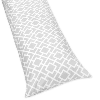 Sweet JoJo Designs Grey and White Diamond Full Length Double 200 Thread Count Zippered Body Pillow Case Cover
