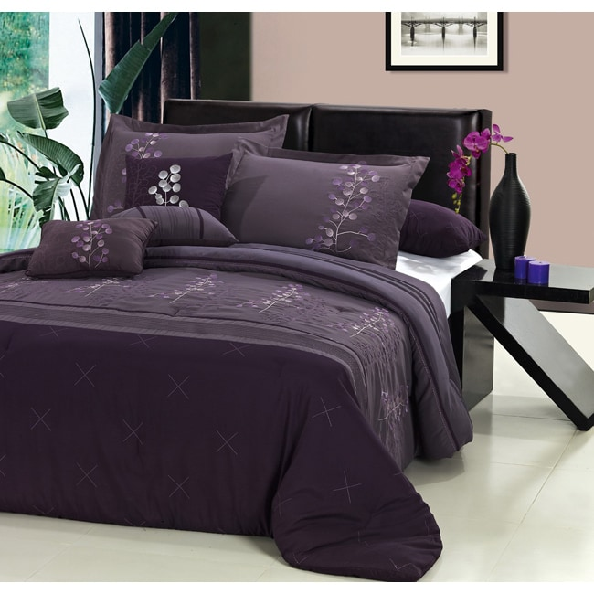 Poppy Flower Plum 12-piece Bed in a Bag with Sheet Set