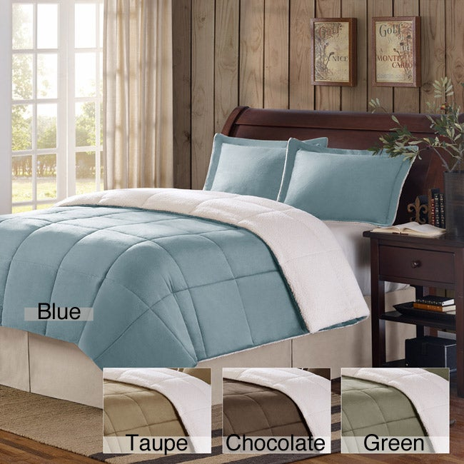 Premier Comfort Shasta Micro Mink/ Berber Twin-size 2-piece Down Alternative Comforter Set