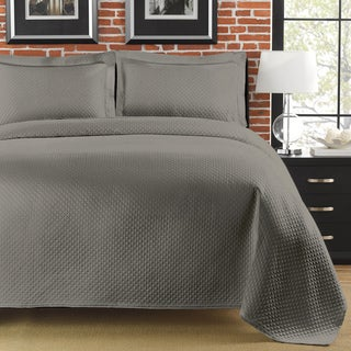 Diamante Full/ Queen-size Grey Matelasse Coverlet