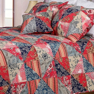 Red Rose Garden Twin-size 2-piece Quilt Set