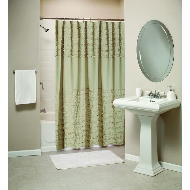 Greenland Home Fashions Ruffled Linen Shower Curtain
