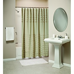 Ruffled Linen Shower Curtain