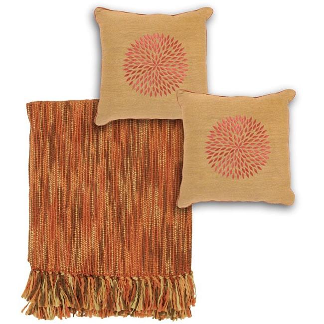 Rust/ Brown Throw and Decorative Pillow Set